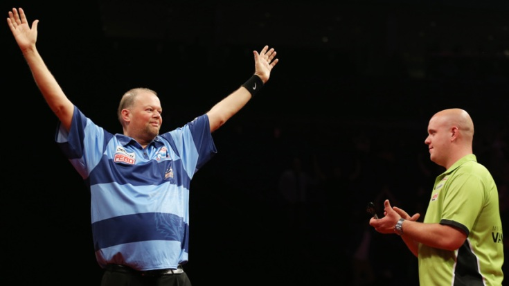 Darts - Betway Premier League Darts 2014 Play-Offs - The O2 Arena, London - 22/5/14 Raymond van Barneveld celebrates winning Premier League as Michael van Gerwen looks on Mandatory Credit: Action Images / Steven Paston Livepic EDITORIAL USE ONLY., HOLLAND ONLY